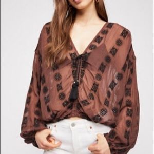 Free People You and Me Embroidered Top